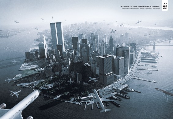 The tsunami killed 100 times more people than 9/11. The planet is brutally powerful. Respect it. Preserve it. www.wwf.org