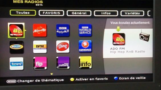 menu radio Numéricable
